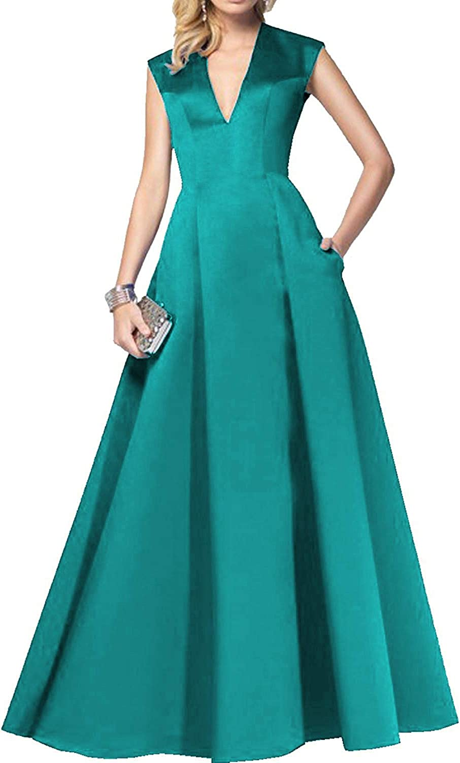 JQLD Women's Sexy V Neck A Line Satin Evening Dresses Open Back Formal Prom Gowns with Pockets