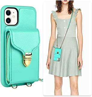 iPhone 11 Wallet case, JLFCH iPhone 11 Crossbody Case with Zipper Card Slot Holder Wrist Strap Shoulder Chain Leathe Handbag Purse Cover for Apple iPhone 11 6.1 inch 2019 - Mint Blue