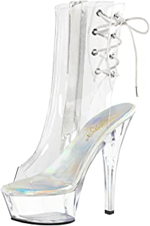 50d477674 Summitfashions Womens Clear High Heel Shoes Ankle Platform Booties Open Toe Boots  6 Inch Heels