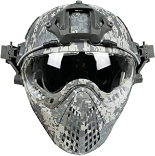 Image of YASHALY Military Tactical Pilot PJ Type Fast Helmets F22 with Removable Full Face Mask and Goggles for Sports Hunting Airsoft Paintball Army Combat Shooting