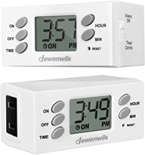 DEWENWILS Indoor Plug in Outlet Timer, Digital Programmable Plug in Lamp Timer Switch with 1 Polarized Outlet, Space Savin...