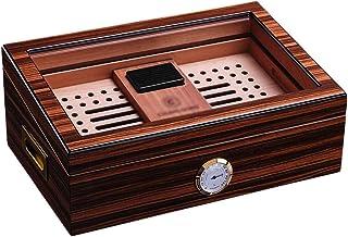 Humidors 50 cigarrar kylare fuktighet tvåvägs luftfuktare cederträ cigarr fuktgivande skåp inbyggd hygrometer transparent ...