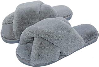 Fadezar Pantoufle Femme Chausson Peluche Chaud Slippers Claquette Fourrure Sandal Bout Ouvert Accueil Chaussures