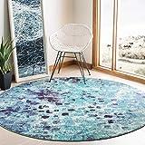 Safavieh Madison Collection MAD425J - Alfombra abstracta envejecida, redonda, 1,5 m, color turquesa y azul marino