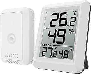Oria Digital Termómetro Higrómetro Interiores y Exteriors, Medidor de Humedad Temperatura con Sensor, Gran Pantalla LCD, I...