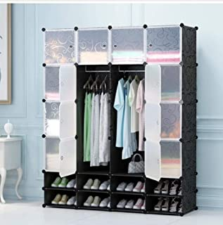 16 Cubes DIY Wardrobe Garment Storage Cube and 2 Shoe Layer Black and Transparent