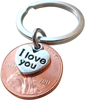 I Love You Heart Charm Layered Over 2011 Penny Keychain, 8 year Anniversary Gift, Birthday Gift, Couples Keychain