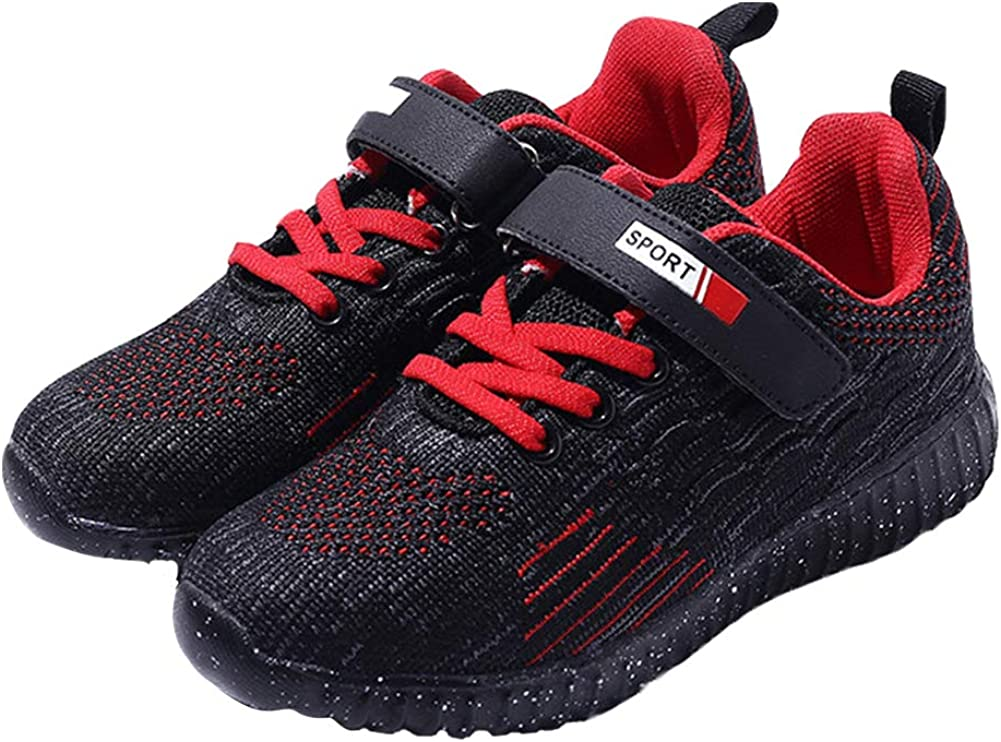 Z.SUO Boy's Lightweight Breathable Sneakers Strap Athletic Running Shoes (Toddler/Little Kid/Big Kid) (10-10.5 M US Toddler/Little Kid, Black red)
