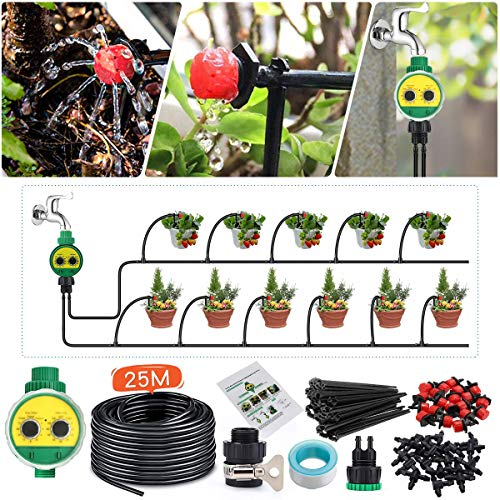 KINGSO Drip Irrigation Kit with Timer 82ft/25M Irrigation System with Timer and 20 Adjustable Dripper Automatic Plant Garden Hose Watering System for Garden Greenhouse, Flower Bed, Patio, Lawn