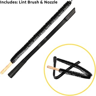 """Houseables Dryer Vent Cleaner Kit, 30"""" Lint Removal Brush & 24"""" Universal Vacuum Hose, 2 PCS, Wood, Rubber, Flexible Cleaning Attachment, for Duct, Refrigerator, Crevice, Filter, Under Appliance"""