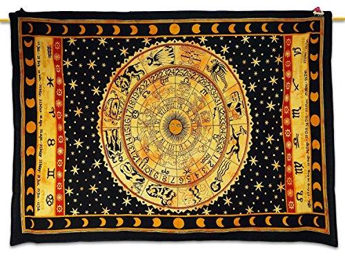 Cristales de sanación de la India: Decoración de Mesa, Pared, Cama con tapicería de Estampado de astrología, Estilo étnico Color Negro