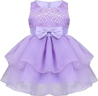35a20da2a Freebily Vestido Princesa de Encaje para Bautizo Boda Fiesta Bebé Niñas  Tutú Vestido Verano Trajes Organza