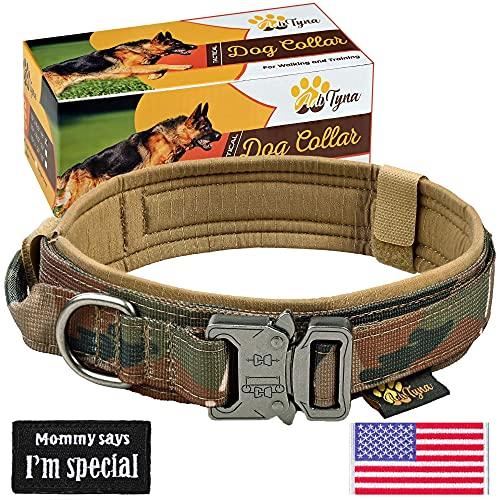 Tactical Dog Collar – Military K9 Dog Collar – Adjustable Dog Collar with Handle – Training and Service Dog Collar for German Shepherd (L, Camo)