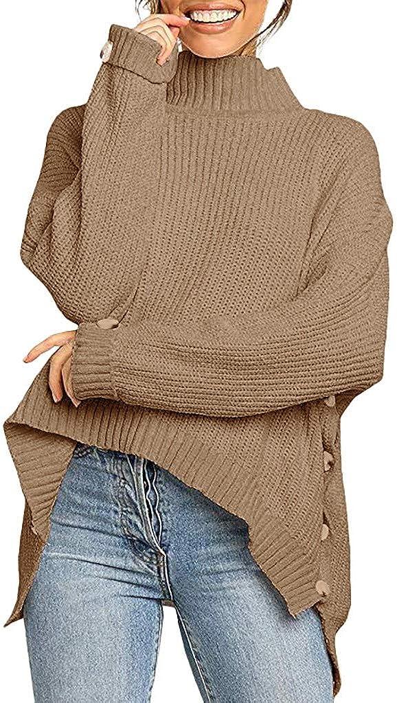 FABIURT Women's Casual Turtleneck Oversized Sweatshirt High Low Hem Side Slit Waffle Knit Pullover Sweater Jumper Tops