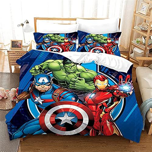 LPFNSF Bettbezug-Set,Avengers Iron Man Captain America Hulk bettwäsche bettbezug, 3D-Digital-Superhero Captain America Druck Bettwäsche (Avengers10,220x240cm)