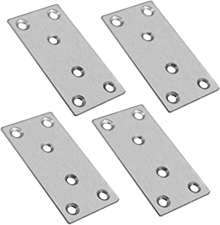 Autoly 98x49mm/3.85''x1.92'' Stainless Steel Flat Mending Repair Plate Corner Braces Straight Support Shelf Bracket (Pack of 4)
