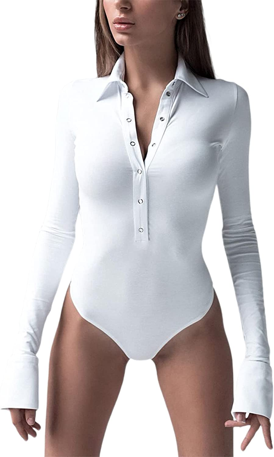 LilyCoco Womens Collared Long Sleeve Bodysuit Button Down Stretchy Bodycon Leotard Top