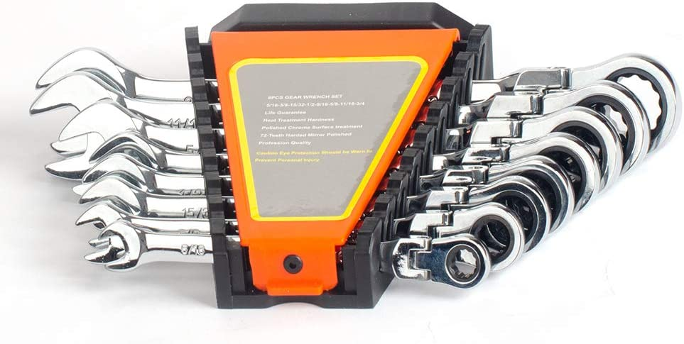 8-Piece Flex-Head Ratcheting Wrench Set,SAE Max 41% OFF Sale special price St Vanadium Chrome