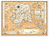 Antiguos Maps - Pictorial Map of Alaska by Alaska News Agency Circa 1959 - Measures 24 in x 32 in (610 mm x 813 mm)