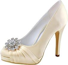 Elegantpark EP2015-PF Zapatos de Novia con Plataforma Bombas Punta Cerrada Zapatos de Boda Tacón Alto Rhinestones Satén Zapatos Fiesta Mujer