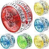Sumind 6 Pieces LED Light Yo-Yo Plastic Responsive Yoyo Entertaining Yoyo for Beginner Party Favors (Random Colors)