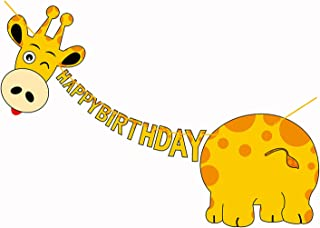 Giraffe Happy Birthday Banner - Paper Animal Party Supplies Decorations Garland Large