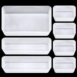 GLAITC Bacs de rangement de tiroir de bureau, 7 pièces en plastique séparateurs de tiroirs avec 3 tailles de bacs de range...