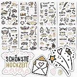 Sticker Hochzeit by snaPmee | Handgezeichnete Aufkleber Gästebuch oder Wedding Fotoalbum | Set: 133 Motive auf 8 Bögen DIN-A5 | Kunstvolle Scrapbooking Deko mit Herz | Love, Liebe (Weiß)