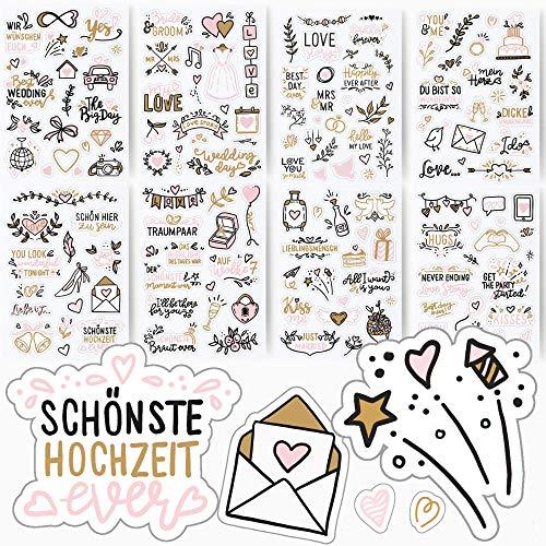 Sticker Hochzeit | Aufkleber für Gästebuch & Foto-Album | Set mit 133 Motiven auf 8 Bögen A5 | Hochzeitsdeko, Scrapbooking, Love, Liebe (Transparent)