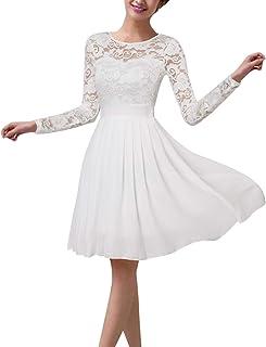 ZANZEA Vestido de Fiesta Encaje Manga Larga Mujer Tallas Grandes Elegant Vestido de Cóctel de Noche Cortos