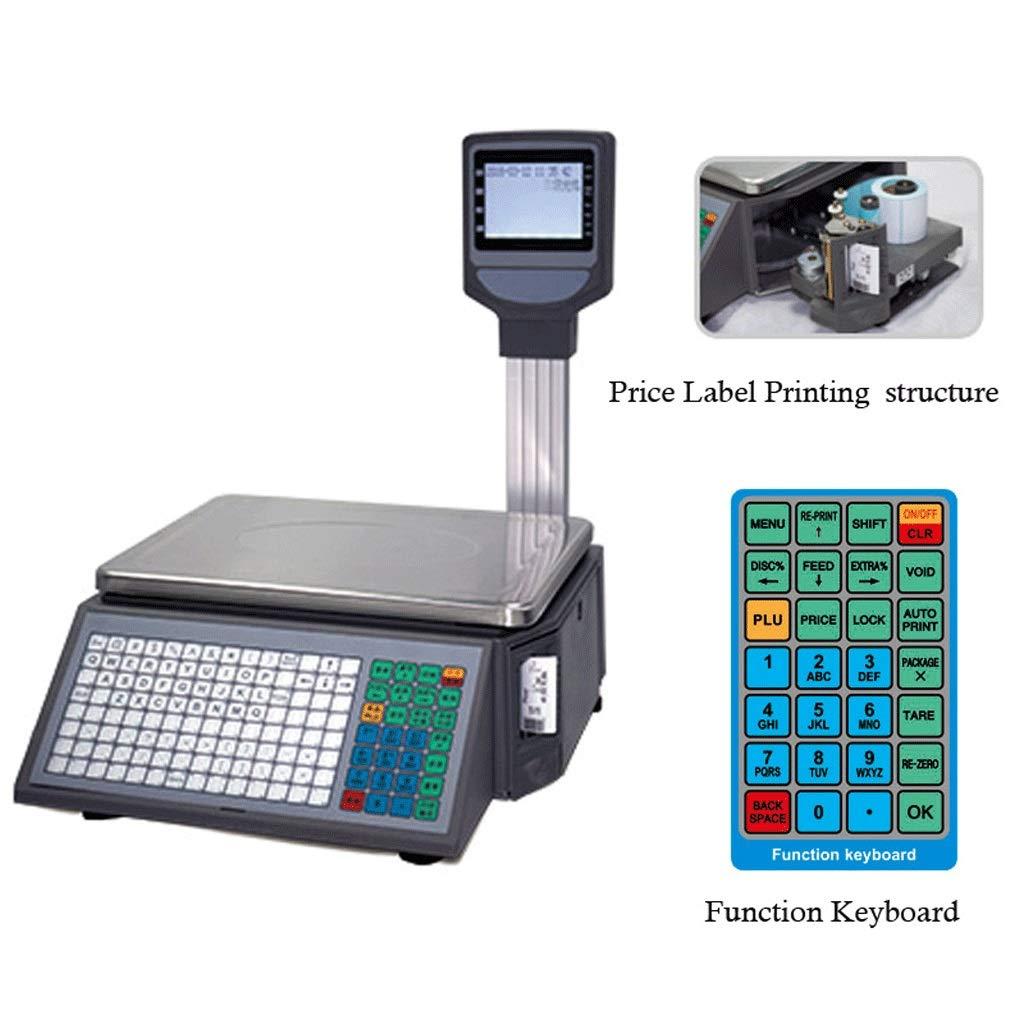 ZXZY Profesional Escalas Electronicas, Gama Alta LCD Autoadhesivo Etiqueta Impresión Escala De Código De Barras Supermercado Frutería Escala De Caja Registradora Multifunción: Amazon.es