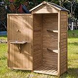 Merax Wooden Garden Shed Wooden Lockers with Fir Wood (Natural Wood Color –Shutter Design)