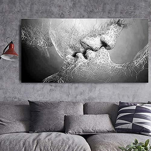 home + Cuadro En Lienzo Amor Beso Negro Lona De Pintura Abstracta Cartel De La Impresión Imágenes De Habitación Sala Decoración Pared del Arte (Color : Canvas, Size : 70x120cm Canvas)