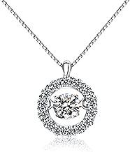 Han han 925 Sterling Silver Dancing Cubic Zirconia Pendant Necklace 18
