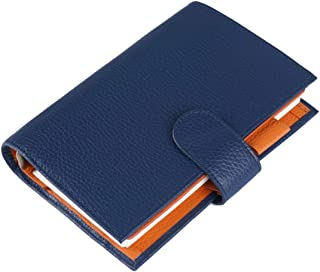 Moterm Leather Personal Planner Binder - Personal Size Milled Pattern Organiser Planner, 6 Rings Binder Planner with Lined Refills, Big Pocket and Flyleaf (Personal Size, Blue-Orange)