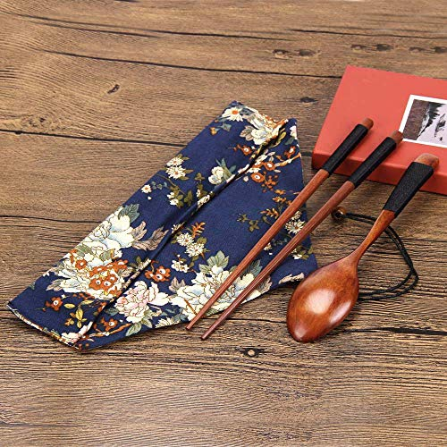Portable Wooden Chopsticks Spoon Tableware Set Vintage + Blue Bag Kitchen Dining Bar Accessories