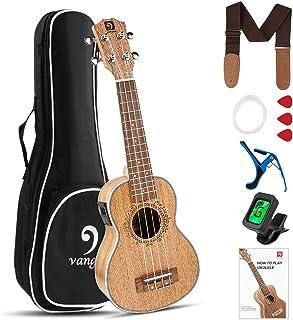 Vangoa Ukulele Soprano 21 Inch Mahogany Electric Ukulele Starter Kit for Kids Beginners with Padded Bag, Study Guide, Starter Accessories