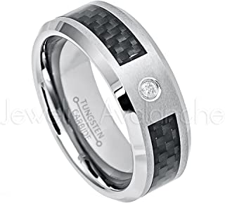 Jewelry Avalanche 8mm Beveled Tungsten Carbide Wedding Ring w/Black Carbon Fiber Inlay - Anniversary Band - 0.07ct Diamond Tungsten Carbide Ring -