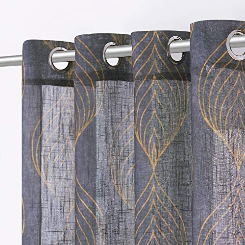 KGORGE Semi Sheer Gray Curtains - Geometry Curtains 63 inch Length Soft Golden Leaf Vein Printed Semi-Transparent Window Panels for Bedroom Living Room Dining Room, 2 Pieces, Grey