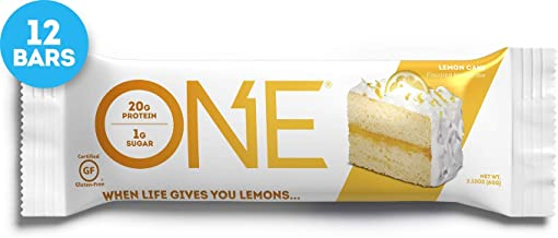 ONE Protein Bars, Lemon Cake, Gluten Free Protein Bars with 20g Protein and only 1g Sugar, Guilt-Free Snacking for High Protein Diets, 2.12 oz (12 Pack)