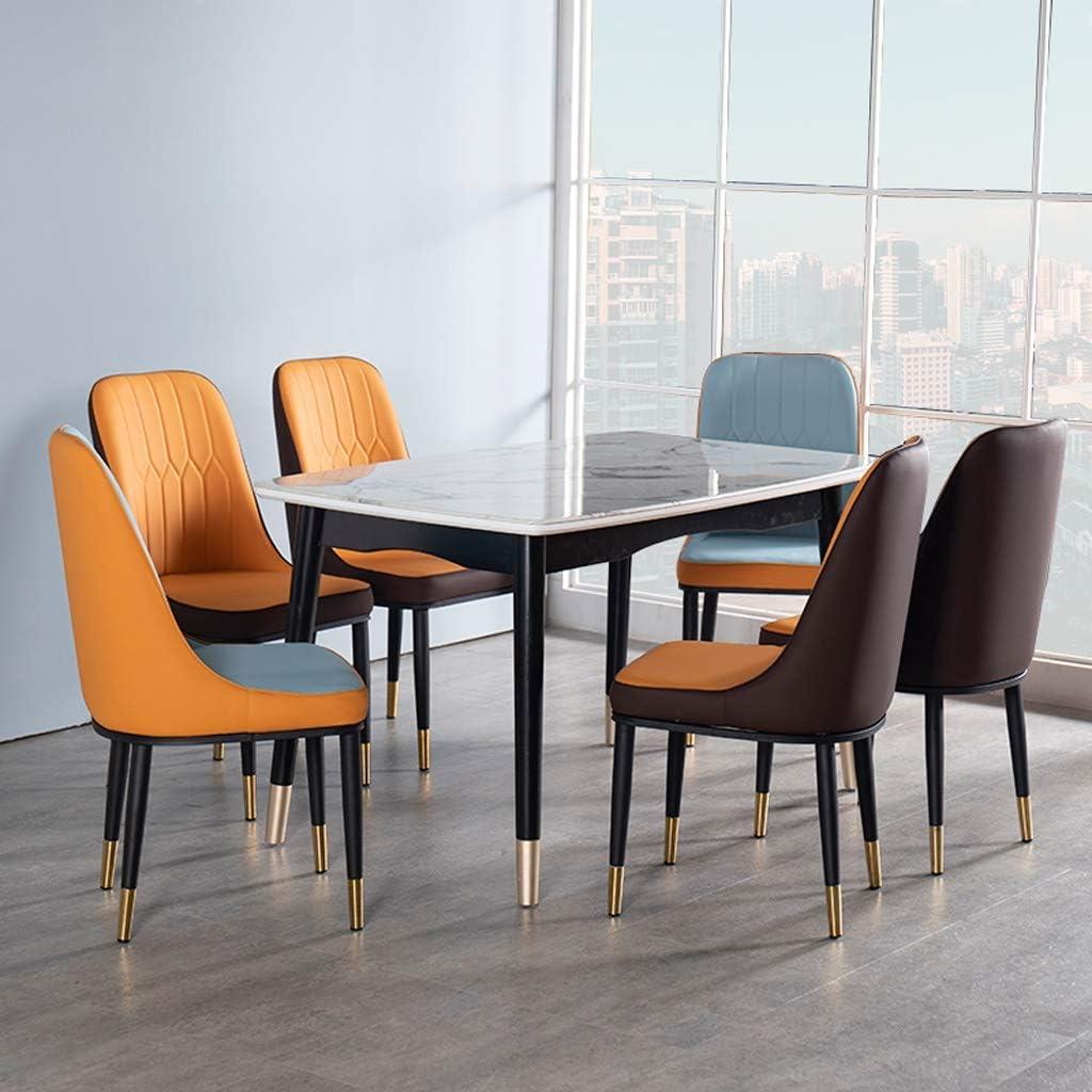 WDX- Chaise de Salle, Chaise de Bureau Simple, créative Dossier, Chaise Loisirs, Maison Adulte Chaise de Salle Confortable (Color : Blue Cyan) Brownish Orange