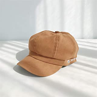 Lei Zhang The New Octagonal Cap Beret Female Korean Summer Thin Section of England Newspaper boy hat Letters Cap Spring and Autumn Tide (Color : Caramel, Size : One Size)