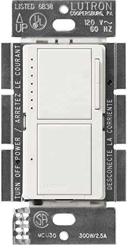 new arrival Lutron, White MA-L3S25-WH Maestro 300 Watt popular Single-Pole Dual Dimmer and outlet sale Switch, 1 pack online sale
