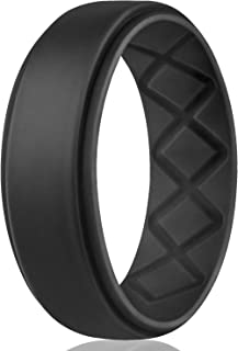 Silicone Wedding Ring for Men, Breathable Mens' Rubber Wedding Bands, Size 8 9 10 11..
