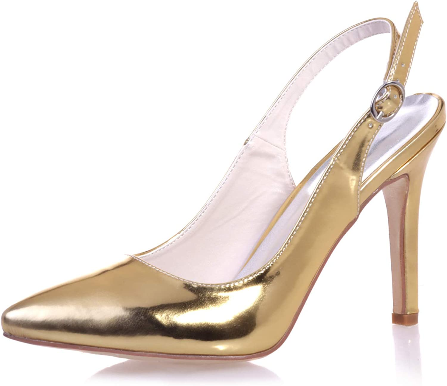 LLBubble Women Pointed Toe High Heels Wedding shoes Stiletto PU Leather Bridal Pumps Ankle Buckle Dress shoes 0608-24