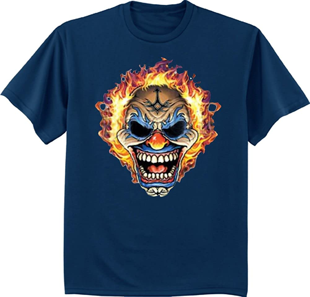 Decked Out Duds Big and Tall Shirt Scary Clown Decal tee