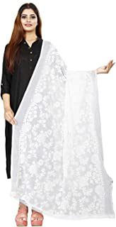 AKSHAR LLC Women's Embroidered Chiffon Dupatta