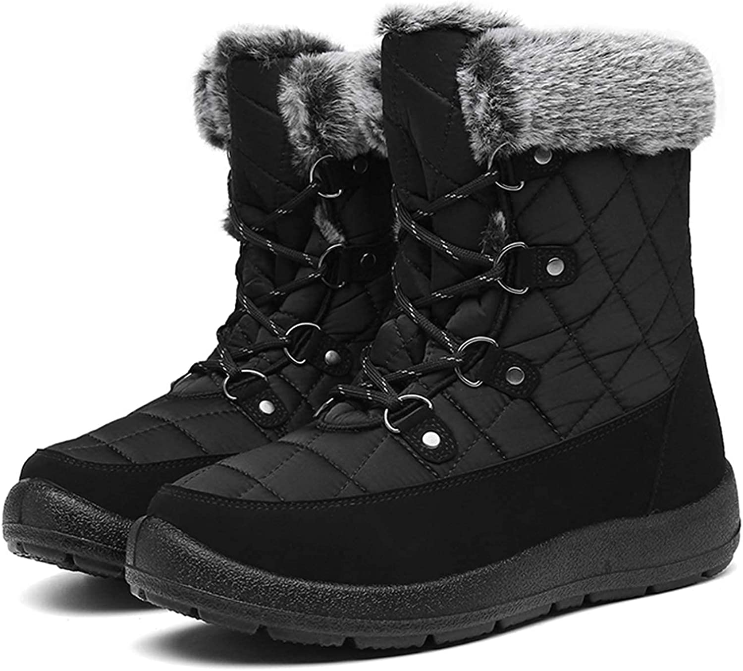 Winter Boots for Women - Soft Comfortable Faux Fur Mid Calf Winter Snow Boots Totes Boots Lace up Snow Boots Winter Boots with Insulated Black for Outdoor