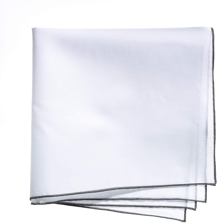 Lehner Switzerland Men's Fancy Woven White Cotton Handkerchief Gray Hand Rolled Hem