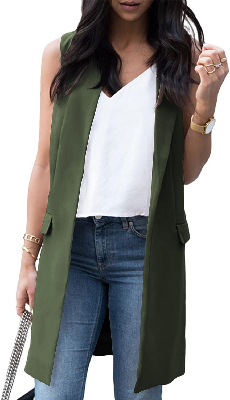 Beladymn Women's Sleeveless Cheap SALE Start OFFicial store Long Blazer Casual Fr Open Vest